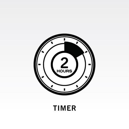 Timer icon vector illustration on light gray background. 2 hours timer.