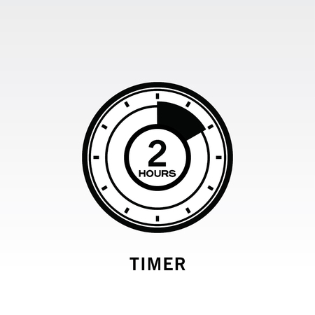 Timer icon vector illustration on light gray background. 2 hours timer.