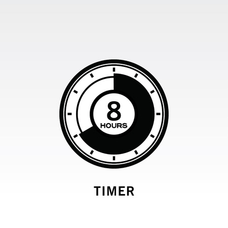 Timer icon vector illustration on light gray background. 8 hours timer. Çizim