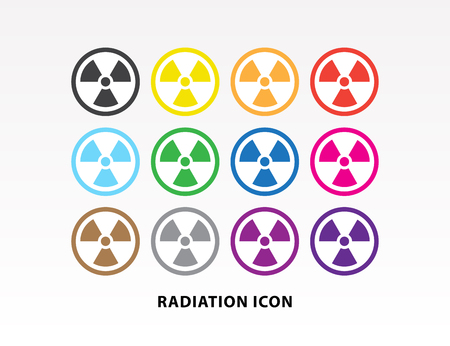 Colorful radiation symbol icon set vector illustration.