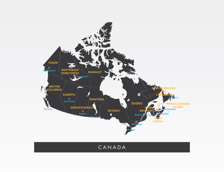 Black map of Canada on gray background. Illustration