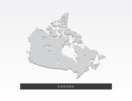 Gray map of Canada on gray background. Illustration