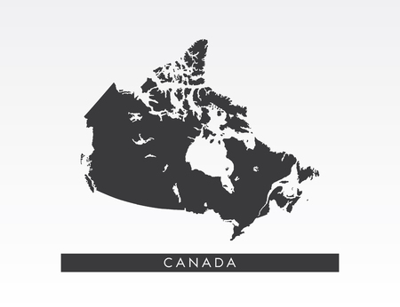 Black map of Canada on gray background.  イラスト・ベクター素材