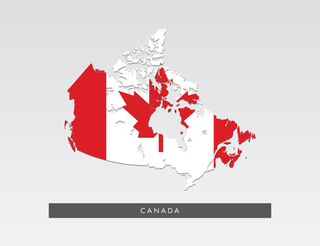 Flag in map of Canada on gray background.