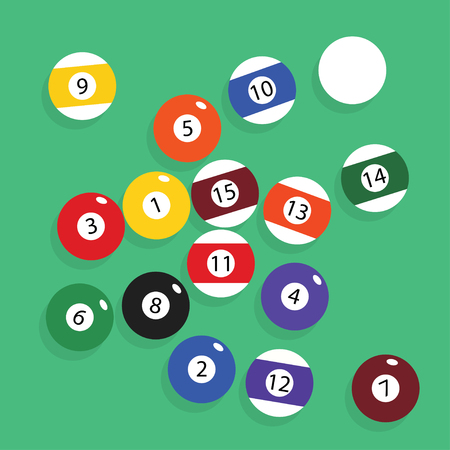 Ensemble complet de boules de billard vector illustration. Illustration