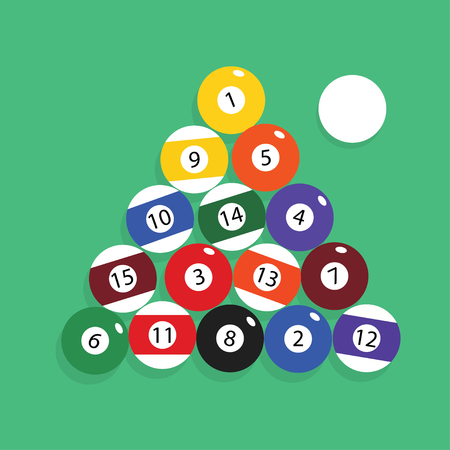 Complete set of billiard balls vector illustration.