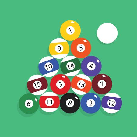 Complete set of billiard balls vector illustration.