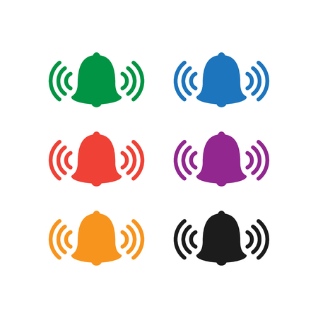 Colorful bell icon set vector illustration.