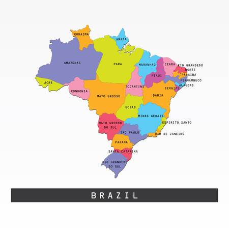 national geographic: Colorful map of Brazil vector illustration. Illustration