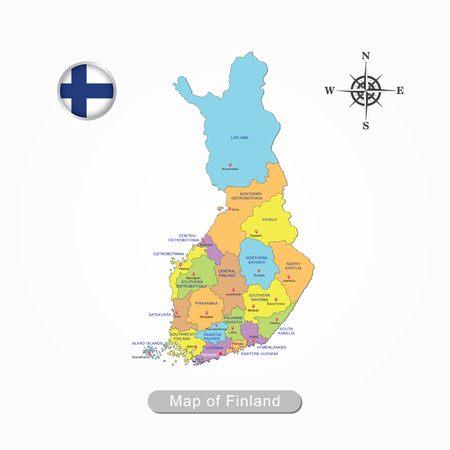 Colorful map of Finland vector illustration.
