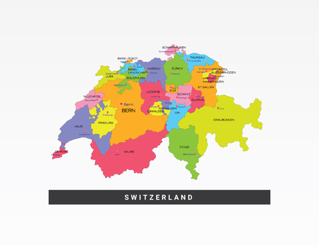 Colorful map of Switzerland vector illustration.