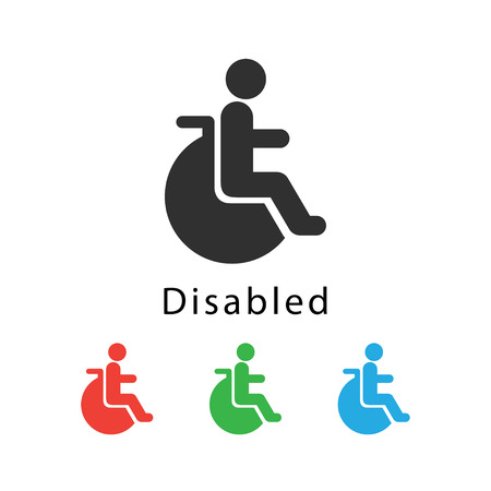 Disabled wheel chair icon vector illustration on white background with different color set.