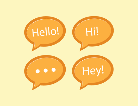 Orange hello typography speech bubble vector illustration. Hi and hey speech bubble, speech bubble icon concept.