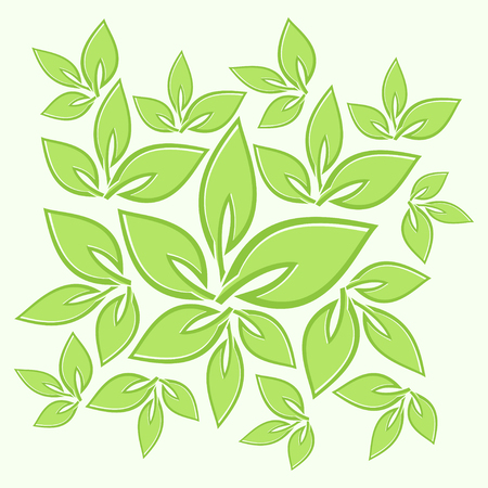 Green leaves texture ornaments vector illustration.
