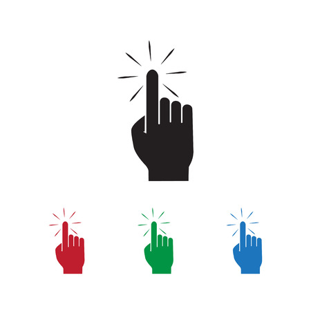 Click hand icon pointer vector illustration on white background  with different color set.