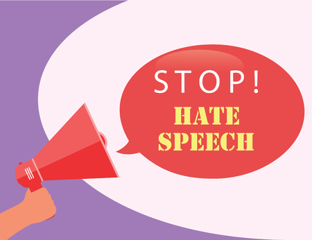 Speech bubble stop hate speech with hand holding a megaphone, vector illustration.