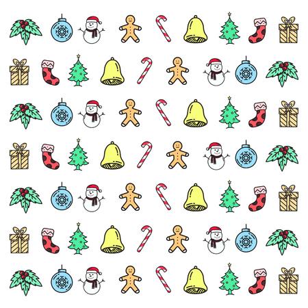 Christmas set hand drawn doodle element vector illustration. Illustration