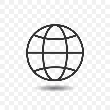 Globe icon with shadow on transparent background