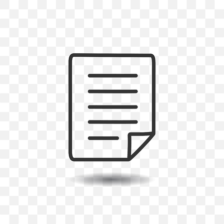 Paper document icon with shadow on transparent background.