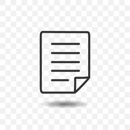 Papieren documentpictogram met schaduw op transparante achtergrond.