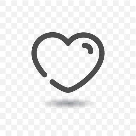 Outlined love heart icon on transparent background.