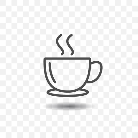 Outlined coffee cup icon simple vector with shadow on transparent background. Vettoriali