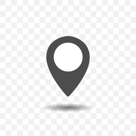Map location pointer icon with shadow on transparent background. Map pin for target or destination.