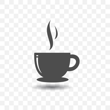 Coffee cup icon simple vector with shadow on transparent background.