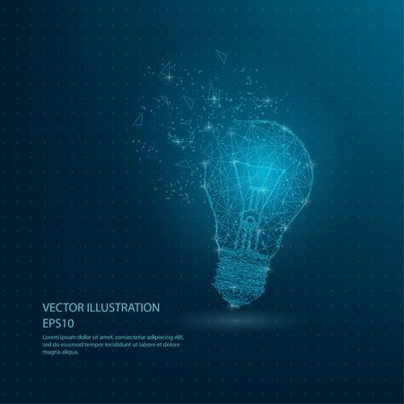 Lampe à ampoule bleue dessinée numériquement, illustration vectorielle de fil de fer poly faible Vecteurs