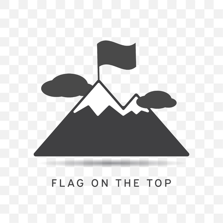 Mountain icon with flag on the top and clouds illustration isolated vector sign symbol on transparent background.
