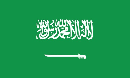 Saudi Arabian Flag official colors and proportion correctly vector illustration.