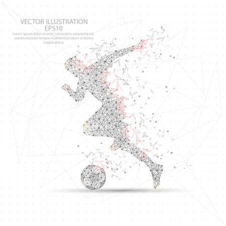 Football soccer player point, line and composition digitally drawn in the form of broken a part triangle shape and scattered dots low poly wire frame on white background.