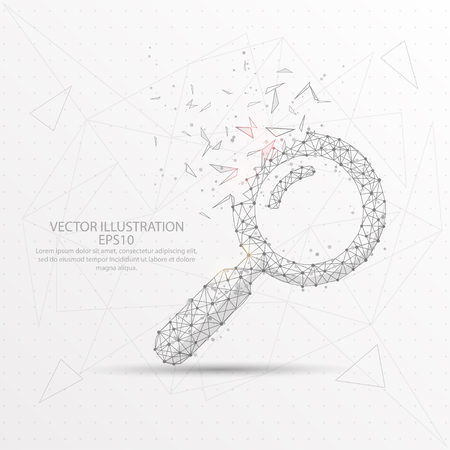 Magnifying glass point, line and composition digitally drawn in the form of broken a part triangle shape and scattered dots low poly wire frame on white background. Ilustração