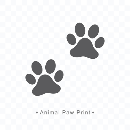 Silhouette animal paw print icon vector illustration on transparent background.