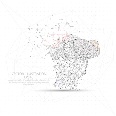 Virtual reality shape point, line and composition digitally drawn in the form of broken a part triangle shape and scattered dots low poly wire frame on white background.