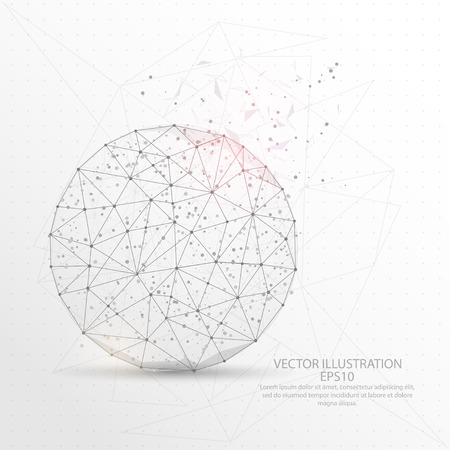 Round shape point, line and composition digitally drawn in the form of broken a part triangle shape and scattered dots low poly wire frame on white background. Illustration
