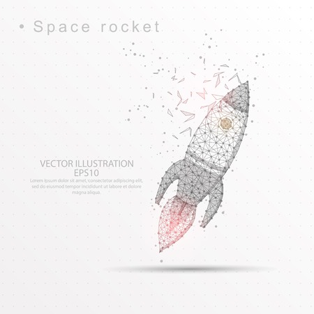 Space rocket line and composition digitally drawn of triangle shape and scattered dots low poly wire frame on white background. Stock Illustratie