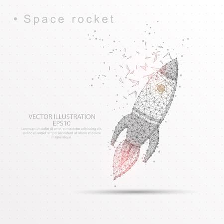 Linea di razzo spaziale e composizione disegnati digitalmente di forma triangolare e puntini sparsi in basso poli filo telaio su sfondo bianco. Vettoriali