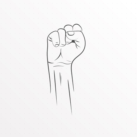 Fist freedom outline icon vector illustration.
