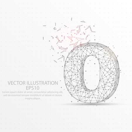 Number zero point, abstract mash line and composition digitally drawn in the form of broken a part triangle shape and scattered dots low poly wire frame on white background.