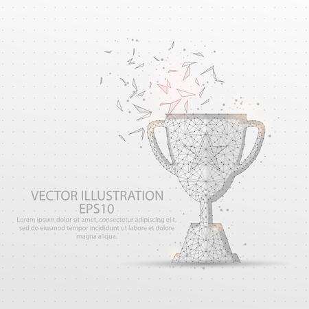 Campeón trofeo línea de malla abstracta y composición cielo estrellado dibujado digitalmente o espacio en forma de una parte rota en forma de triángulo y puntos dispersos marco de alambre de polietileno bajo. Ilustración de vector