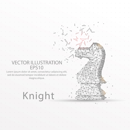 Chess knight abstract mesh line and composition digitally drawn starry sky or space in the form of broken a part triangle shape and scattered dots low poly wire frame.