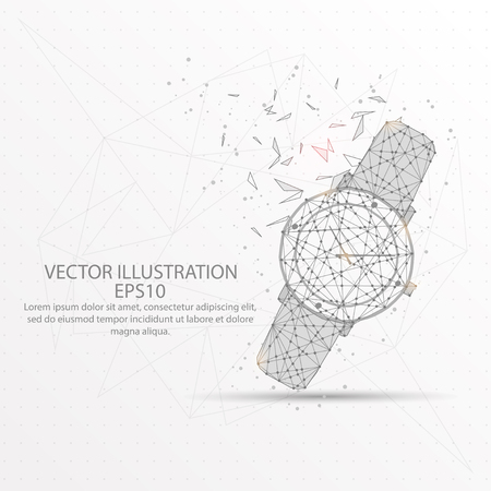 Woman watch abstract mesh line and composition digitally drawn starry sky or space in the form of broken a part triangle shape and scattered dots low poly wire frame.