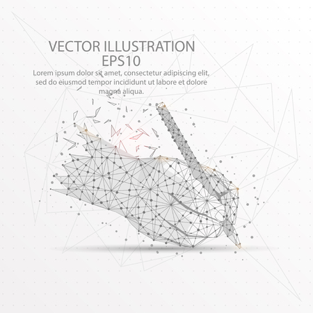 Writing hand form mesh line and composition digitally drawn in the form of broken a part triangle shape and scattered dots low poly wire frame.