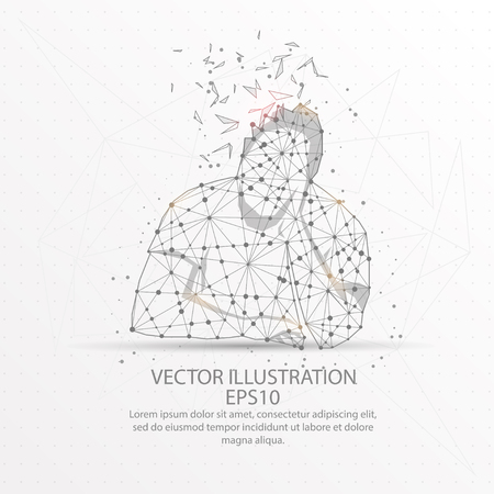 Sleepy man form mesh line and composition digitally drawn in the form of broken a part triangle shape and scattered dots low poly wire frame.