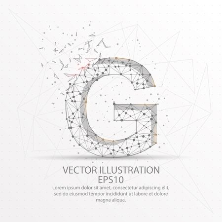 Letter G form mesh line and composition digitally drawn in the form of broken a part triangle shape and scattered dots low poly wire frame. Иллюстрация