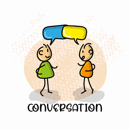 Doodle cartoon figure two man talk each other with speech bubble vector illustration.
