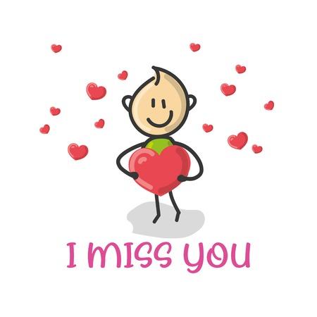 Doodle Cartoon-Figur ein Mann mit einem roten Liebesherz mit Text ich vermisse dich Vektor-Illustration. Vektorgrafik