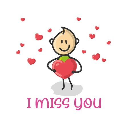 Doodle cartoon figure a man holding a red love heart with text i miss you vector illustration.