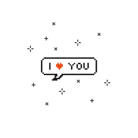 Say i love you in speech bubble 8 bit pixel art on white background vector illustration.